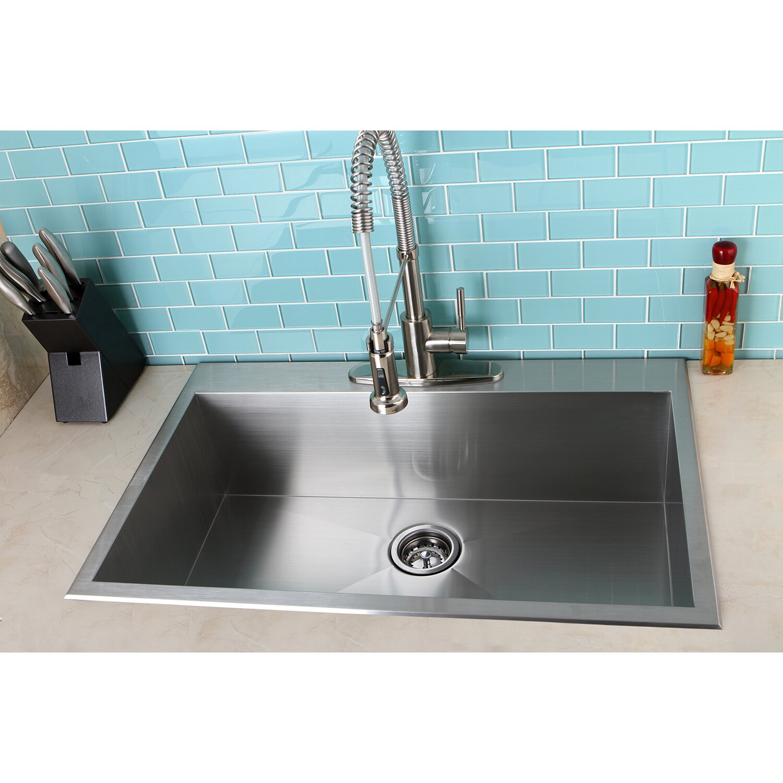 uptowne 33 x 22 self rimming single bowl kitchen sink - Brass Kitchen Sinks