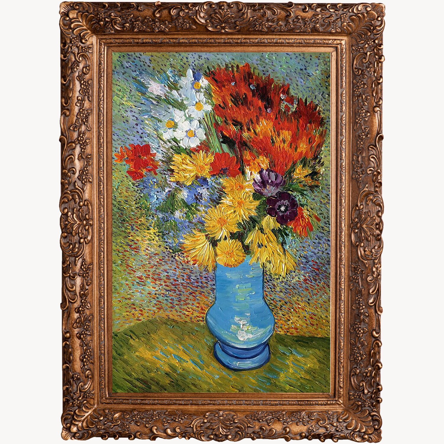 Tori Home Vase with Daisies and Anemones by Vincent Van Gogh Painting Print on Canvas : Wayfair