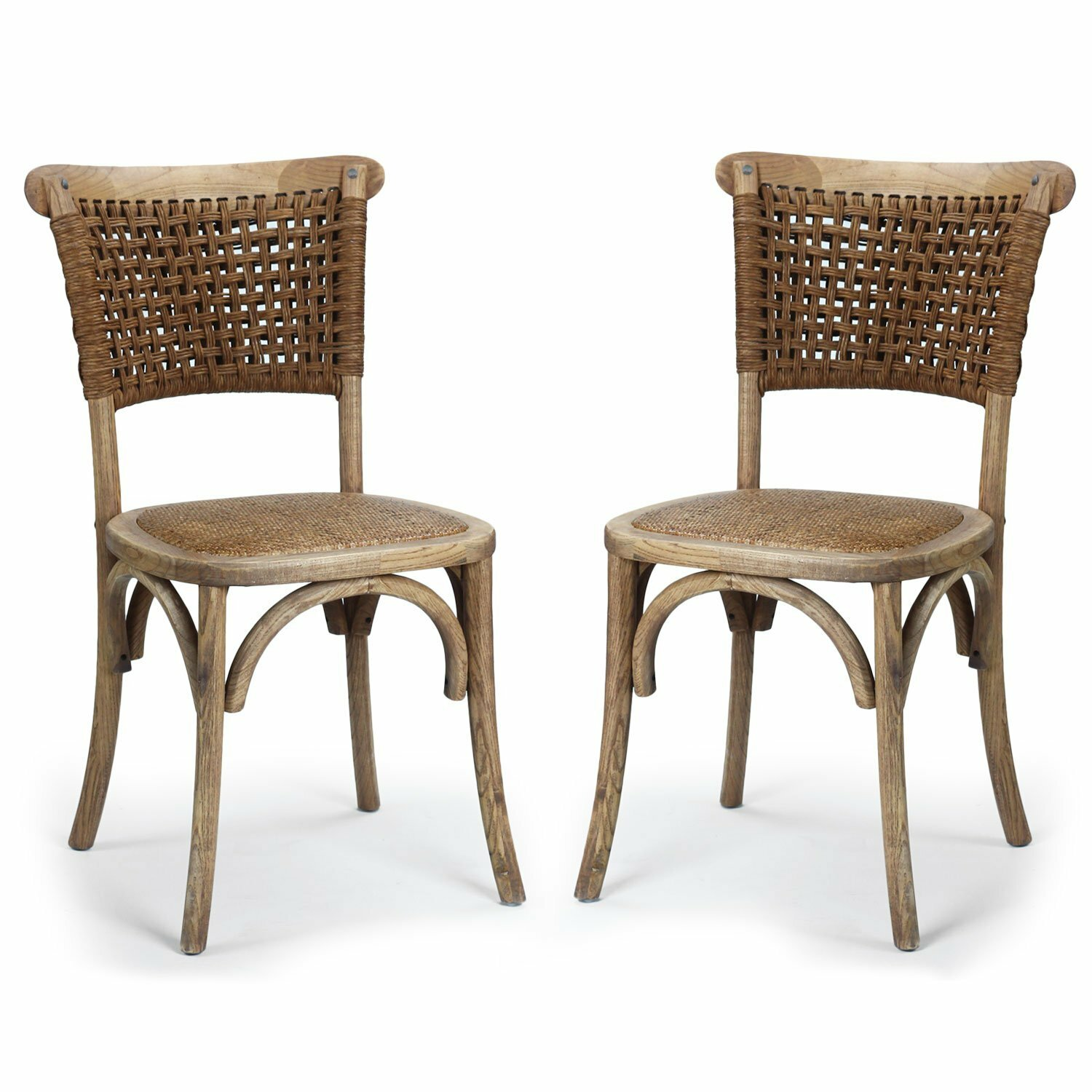 AdecoTrading Dining Cane Solid Wood Dining Chair & Reviews