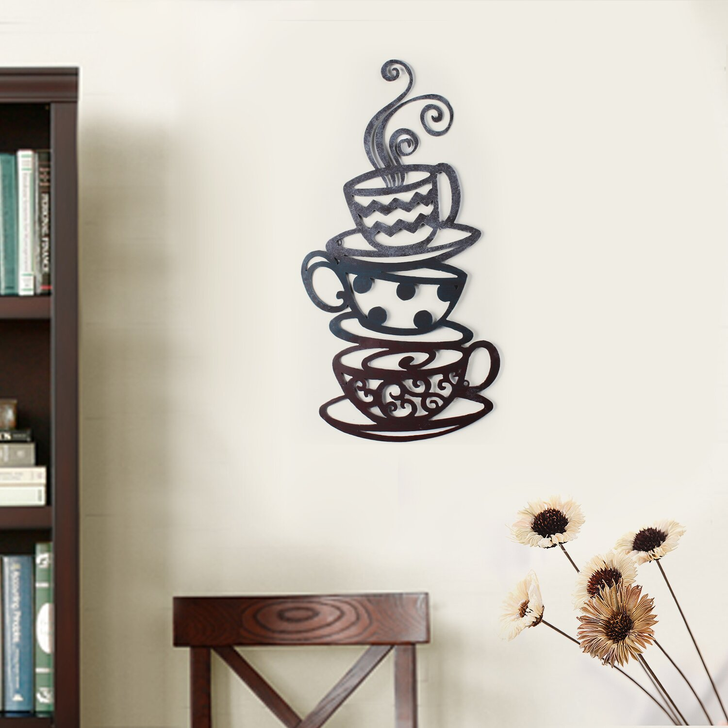 Adecotrading decorative three stacked coffee tea cups iron for Tea and coffee wall art