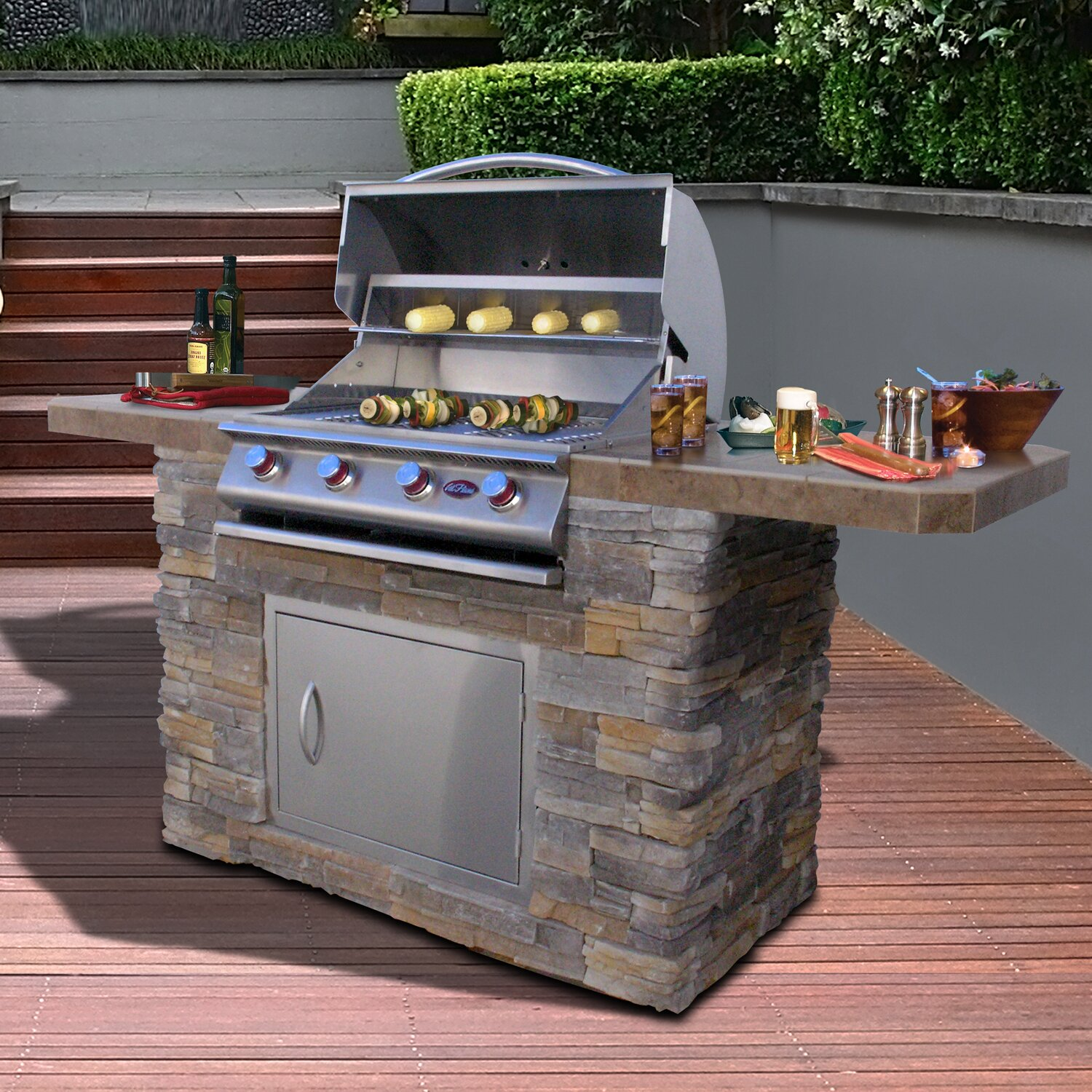 CalFlame Bistro 4-Burner Built-In Propane Gas Grill & Reviews ...