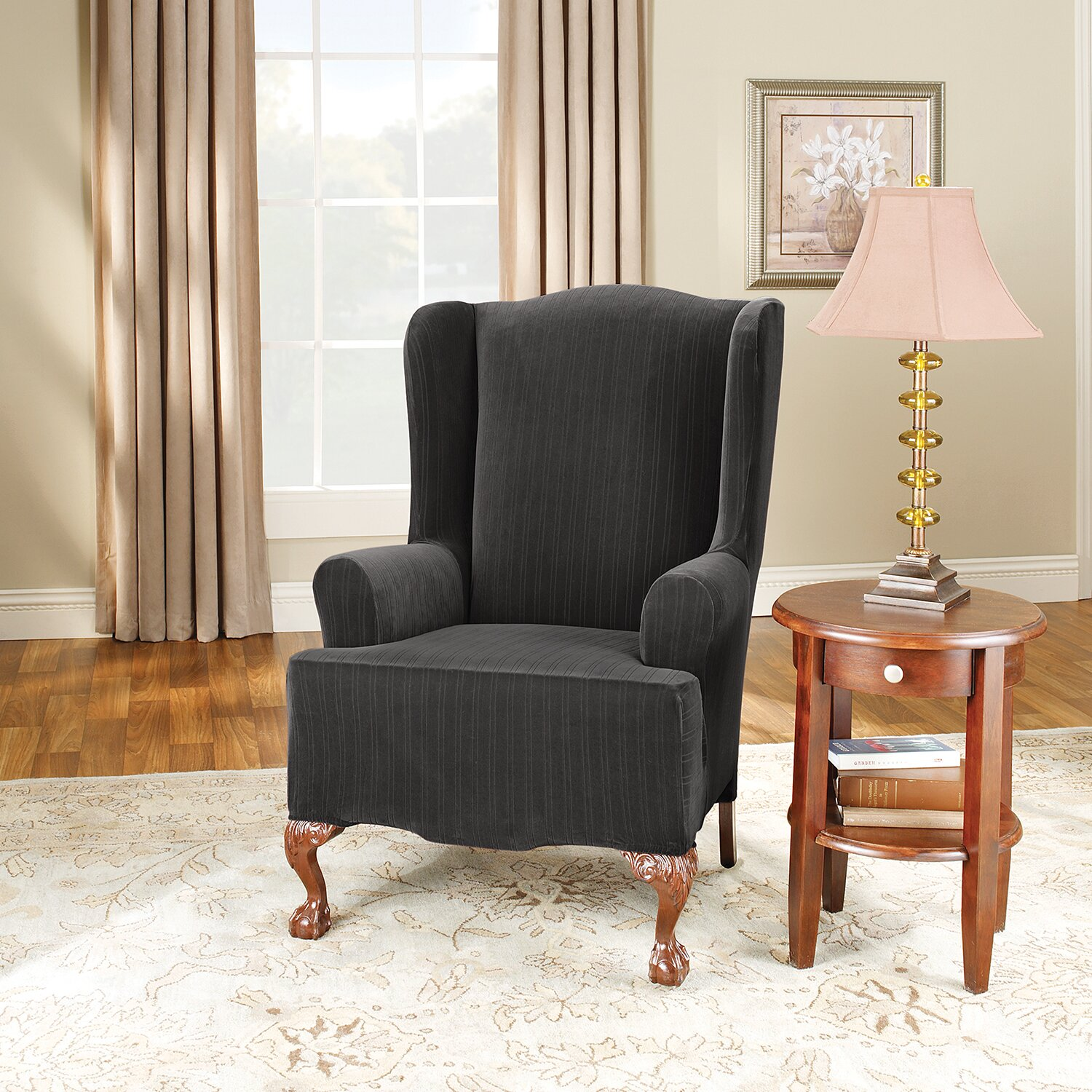 Sure Fit Stretch Pinstripe Wing Chair Slipcover & Reviews