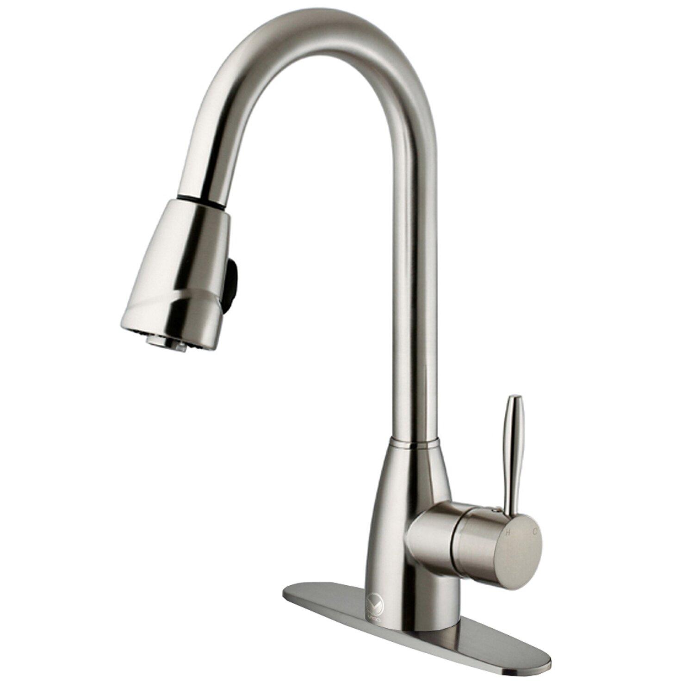 vigo graham single handle pull-down spray kitchen faucet