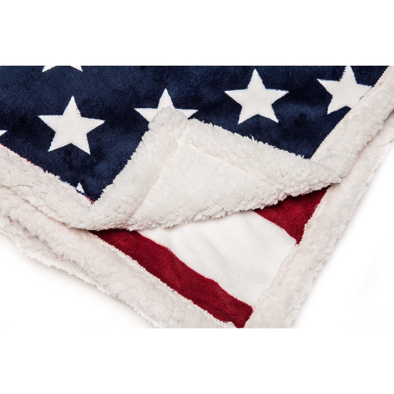 Chanasya Us Flag Print Super Soft Sherpa Throw Blanket