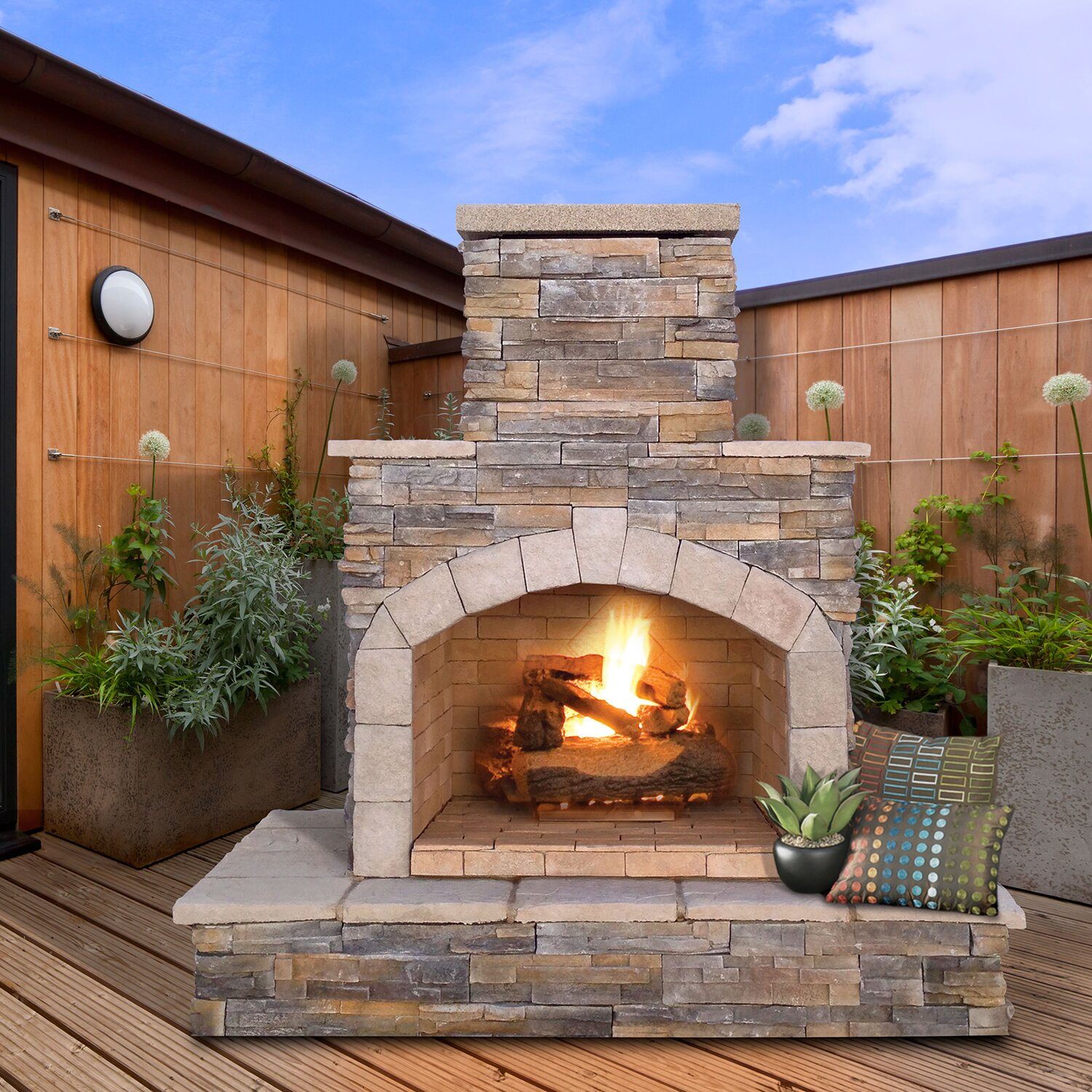 Outdoor Natural Stone : Calflame natural stone propane gas outdoor fireplace
