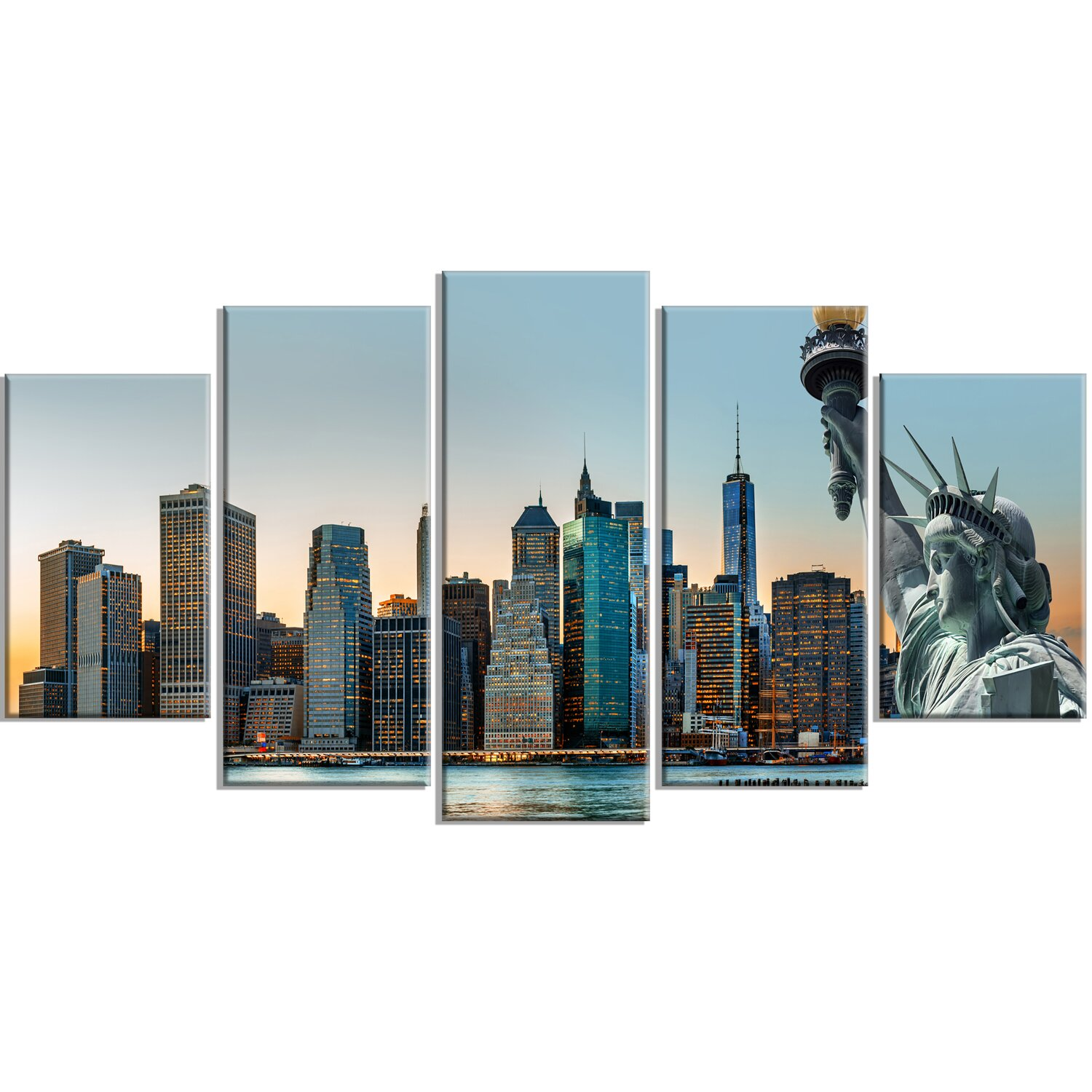 Designart New York City Skyline Panorama 5 Piece Wall: DesignArt 'New York City Skyline Panorama' 5 Piece Wall
