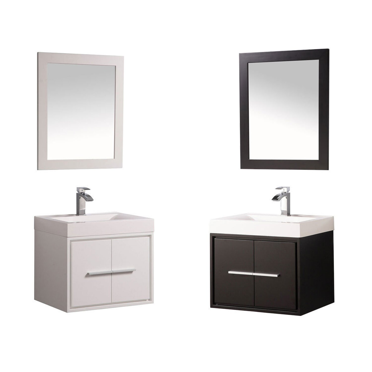 cypress 24 single floating bathroom vanity set with mirror reviews allmodern. Black Bedroom Furniture Sets. Home Design Ideas