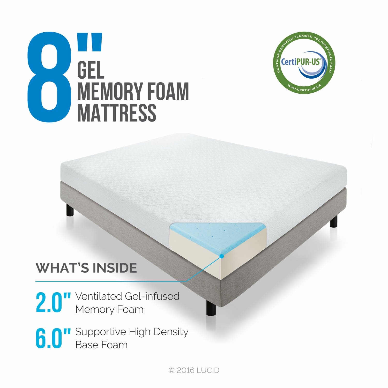 Lucid 8 medium firm gel memory foam mattress reviews for Living spaces mattress reviews
