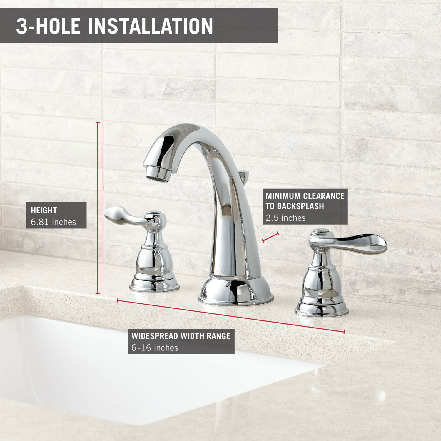 Delta Foundations 35996lf Bn Two Handle Widespread: Delta Windemere Widespread Bathroom Faucet With Double