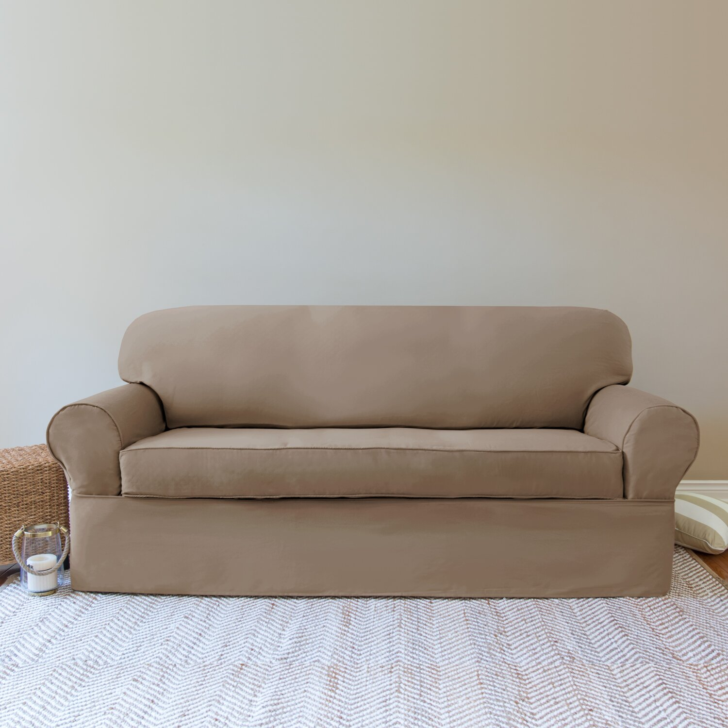 rosecliff heights solid sofa slipcover with beige