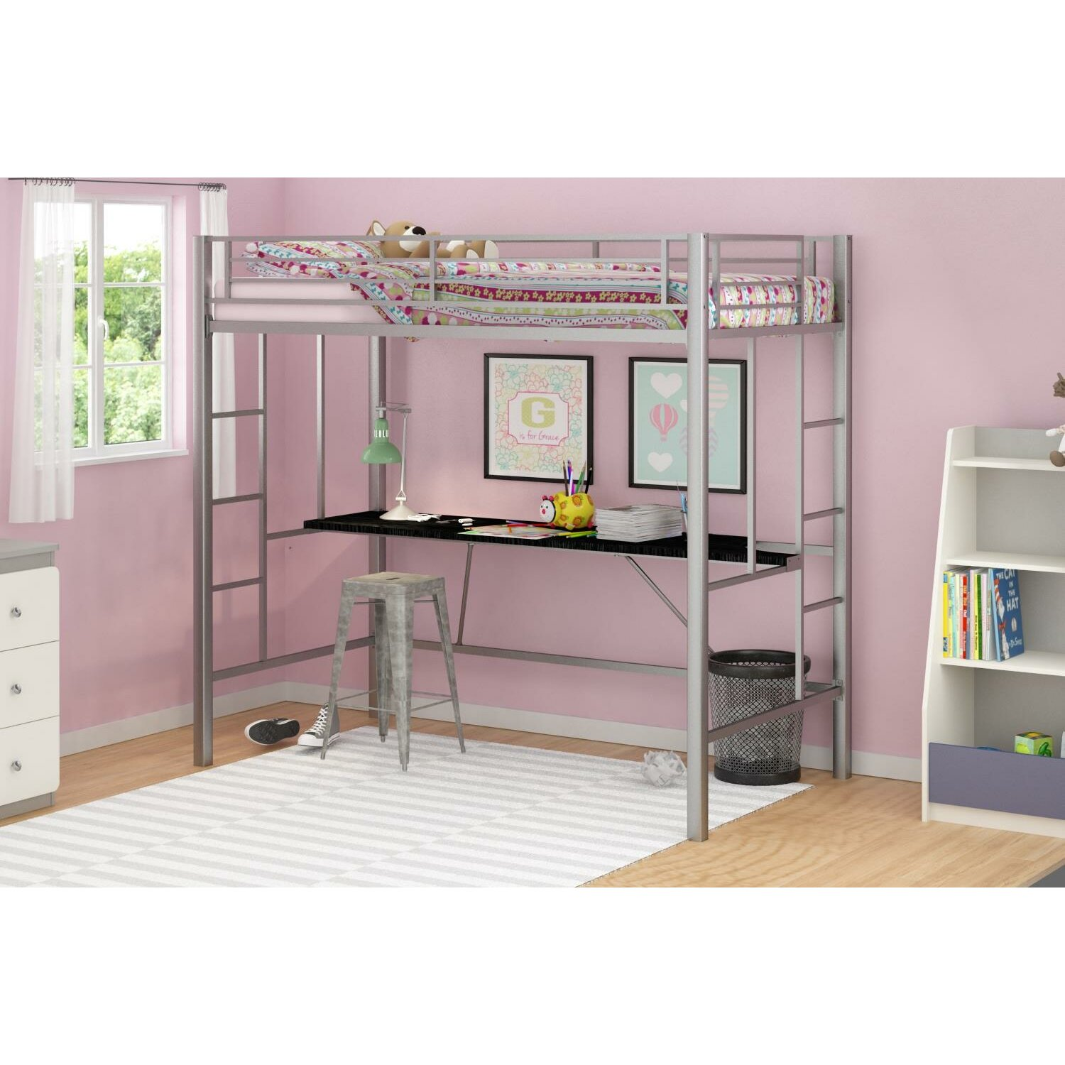Myrtle Twin Loft Bed With Desk Amp Reviews Birch Lane