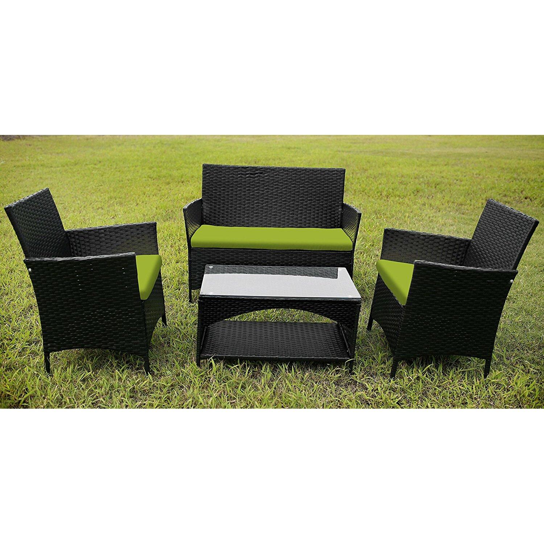 Merax outdoor garden furniture 4 piece lounge seating for Outdoor furniture 4 piece
