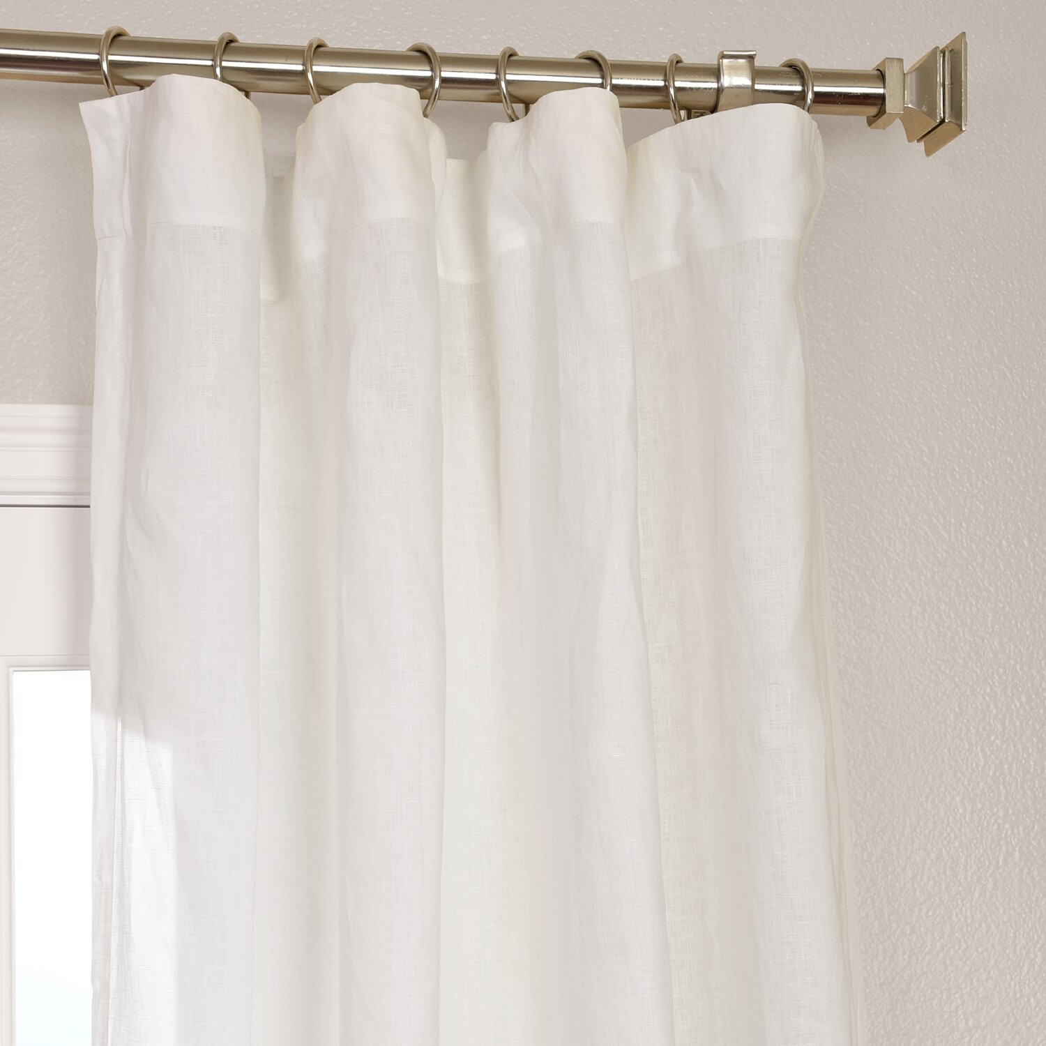 Half Price Drapes Signature Solid Sheer Rod Pocket Single Curtain - White linen shower curtain
