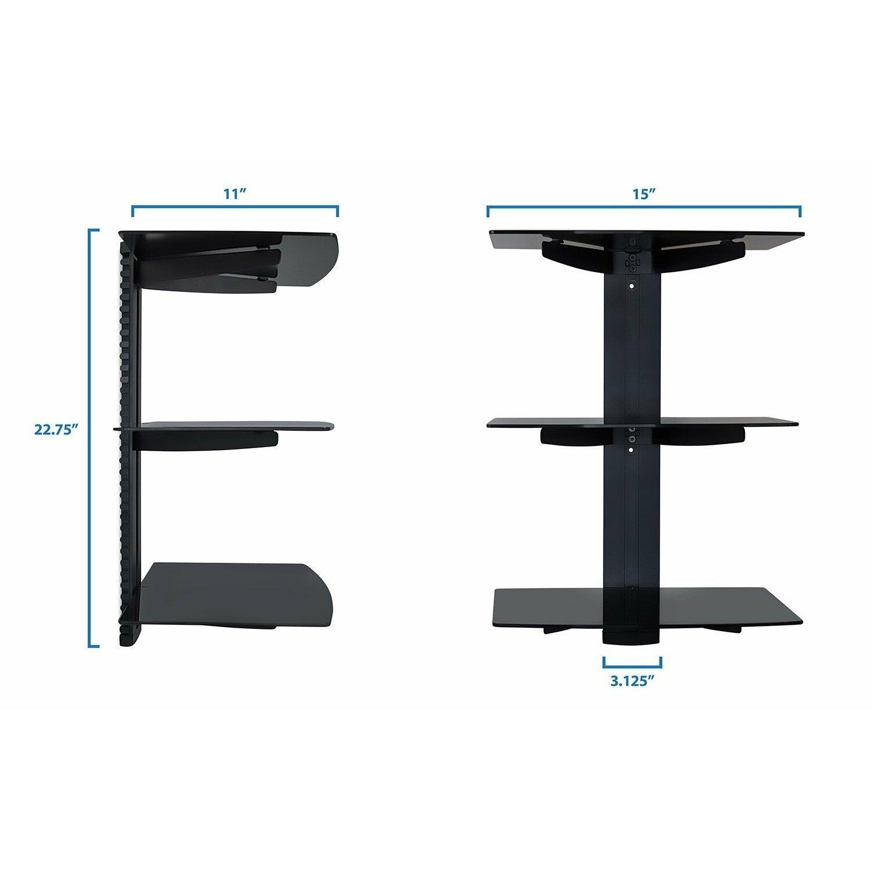 mount it floating wall mounted triple glass shelf bracket stand reviews wayfair. Black Bedroom Furniture Sets. Home Design Ideas
