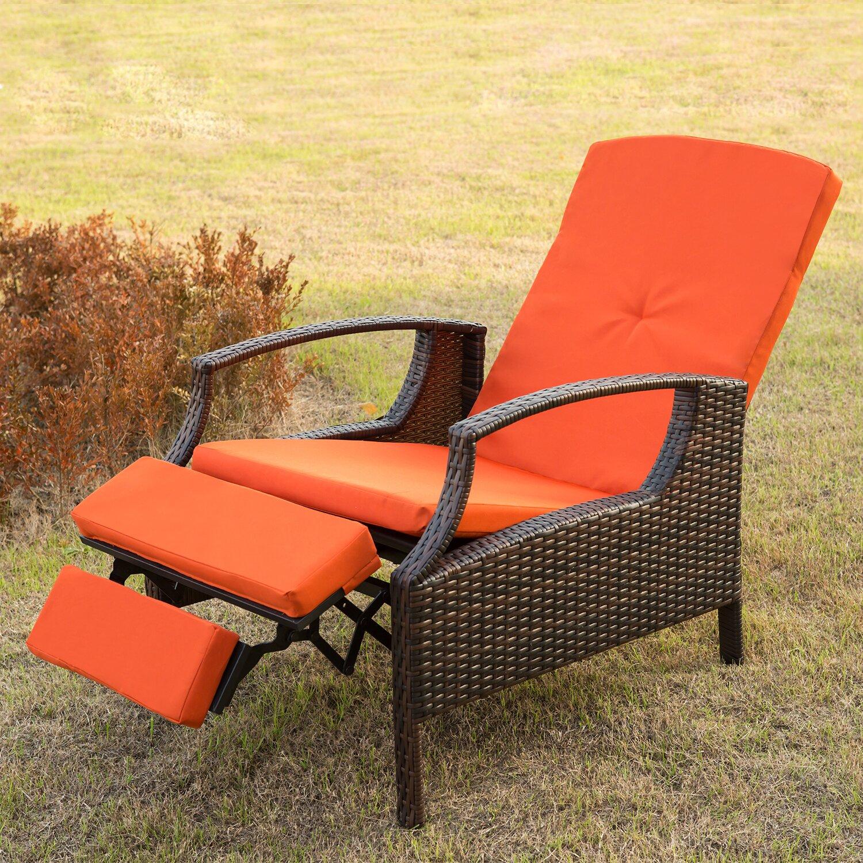 Patio lounge chair cushion - Merax Adjule Wicker Patio Reclining Lounge Chair With Cushions