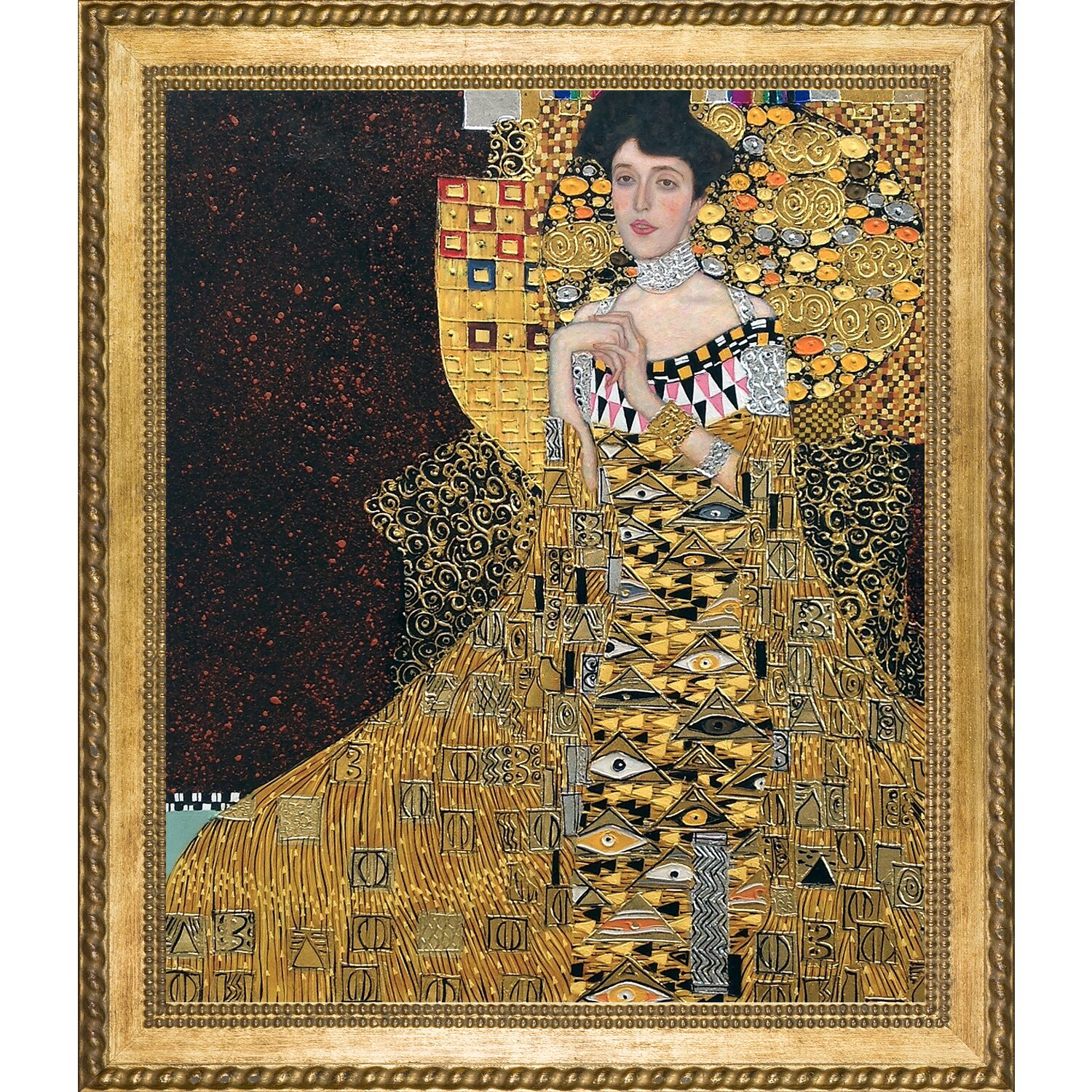 la pastiche 39 portrait of adele bloch bauer i metallic embellished 39 by gustav klimt framed. Black Bedroom Furniture Sets. Home Design Ideas
