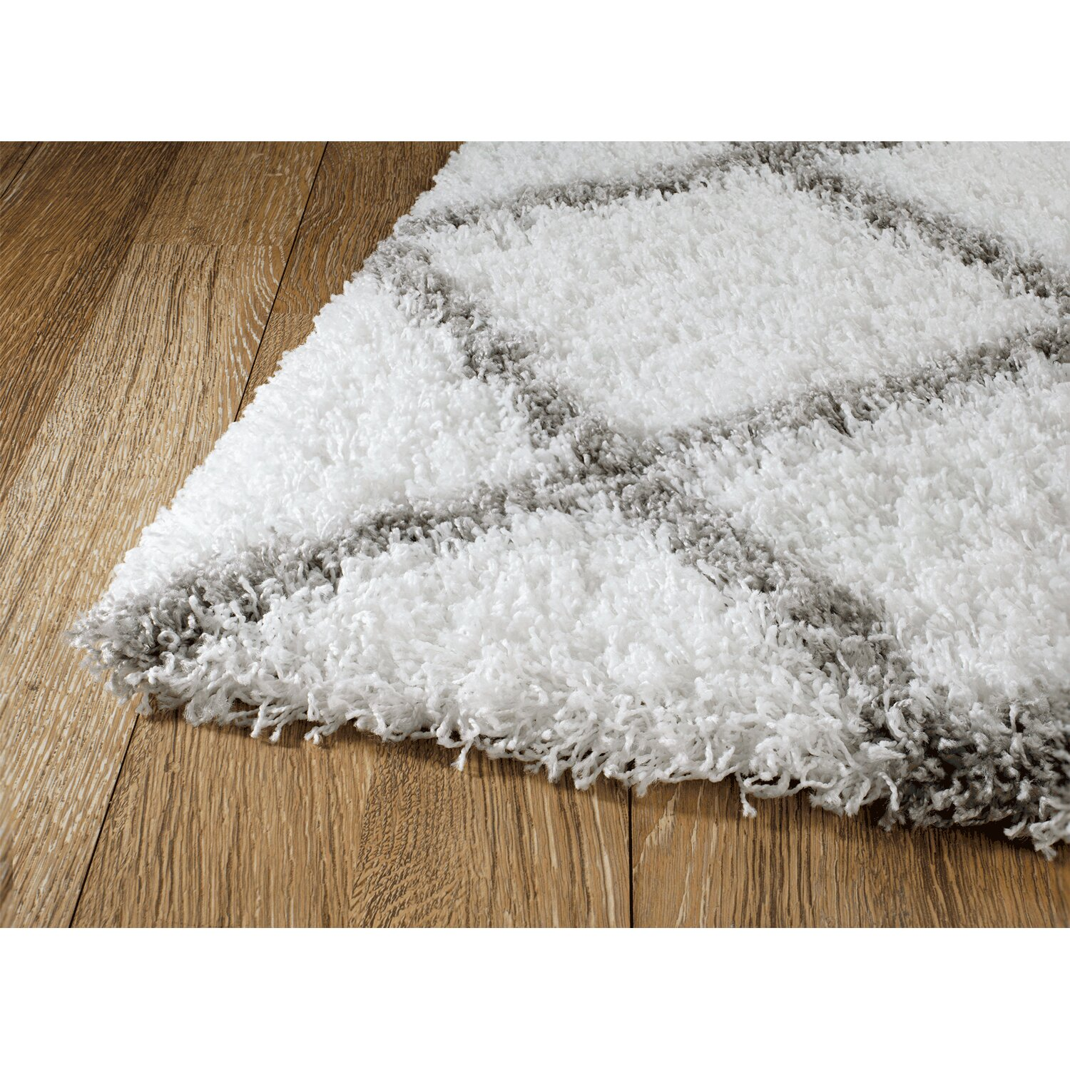 Rug And Decor Inc Supreme Shag Diamond White Grey Area