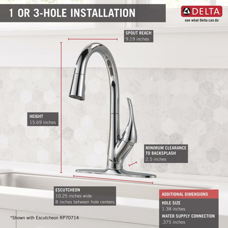 delta esque single handle pull down kitchen faucet wayfair