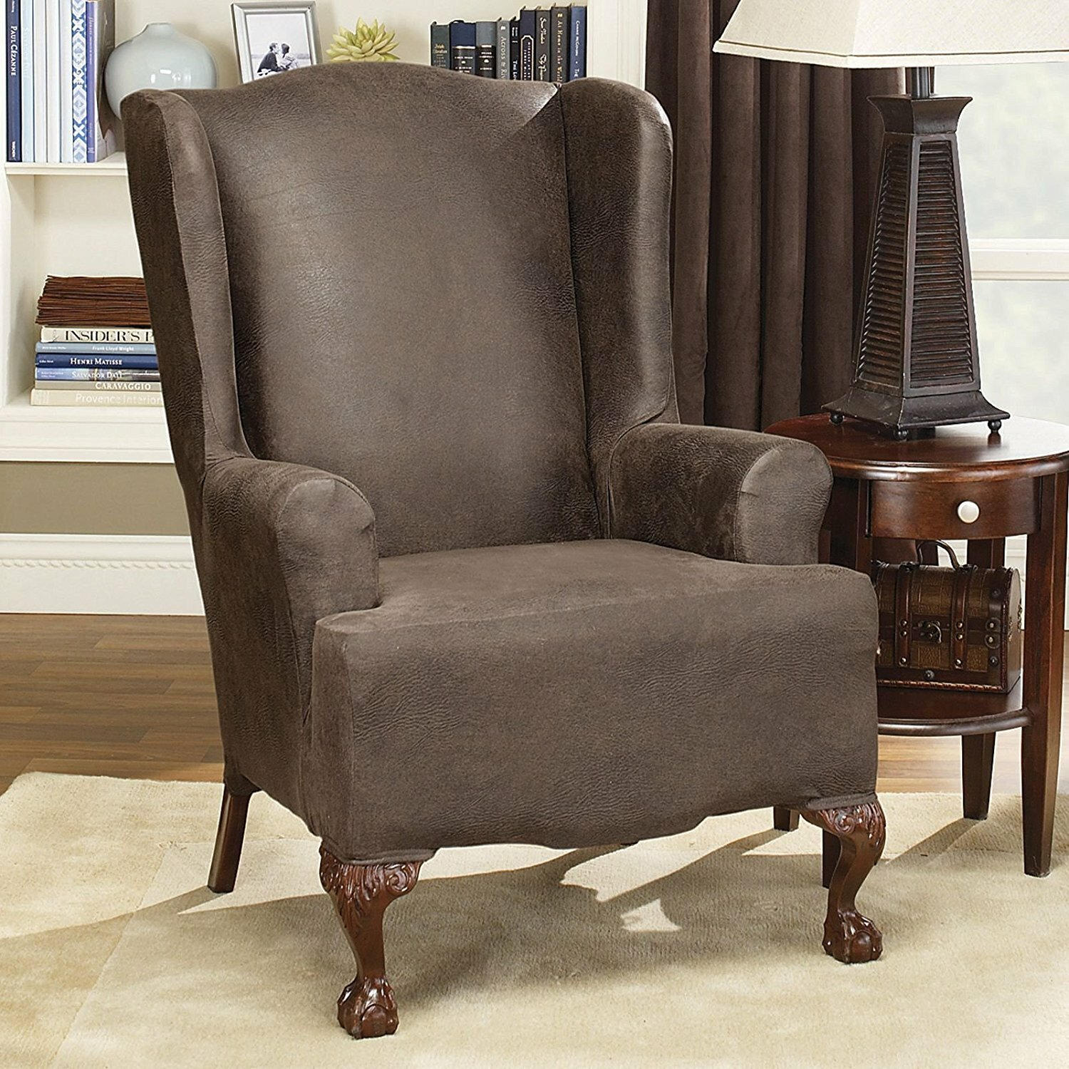 Sure Fit Stretch Leather Wing Chair Slipcover & Reviews