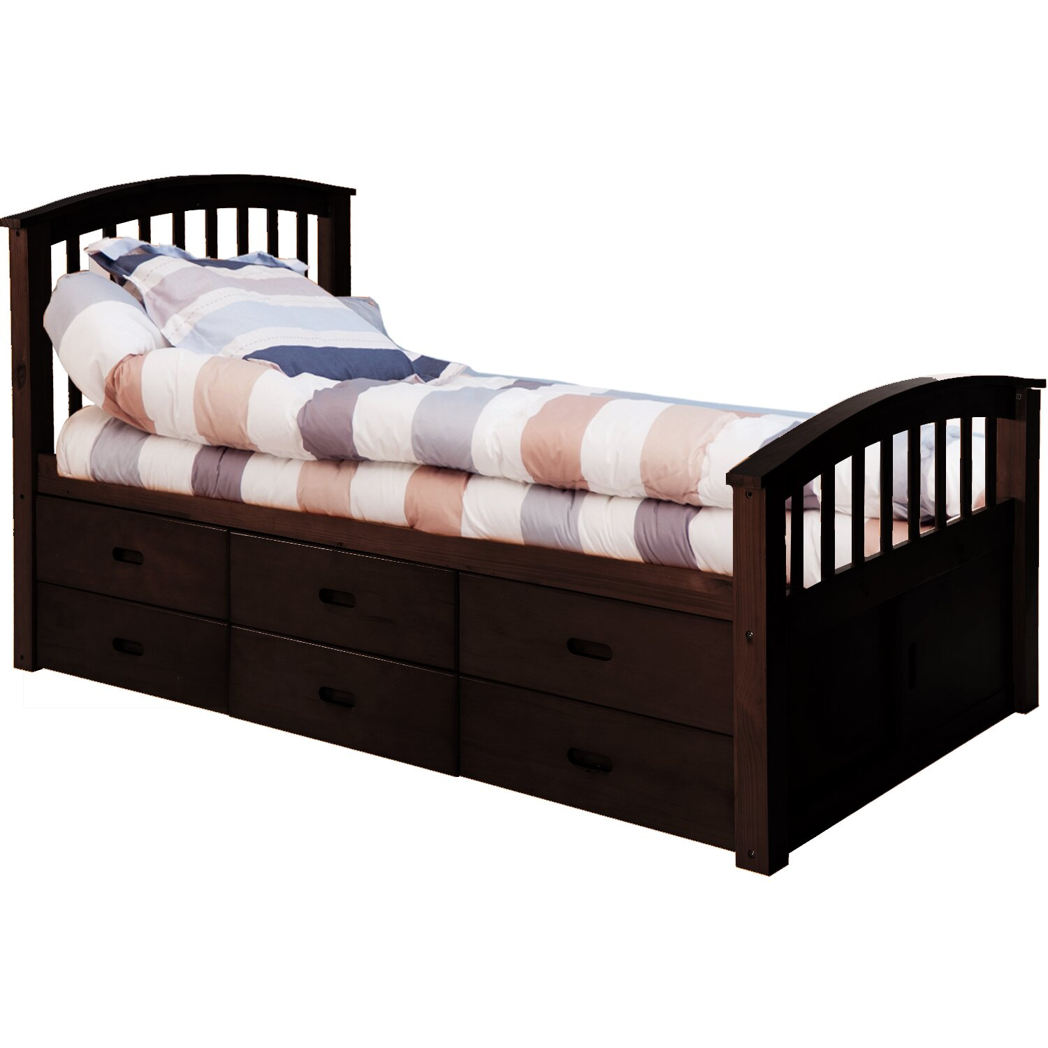 captains bed twin  drawers solid wood storage twin platform bed  - solid wood storage twin platform bed with  drawers