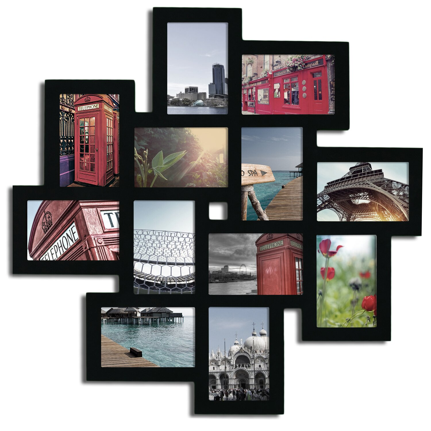 latitude run 12 opening decorative wood photo collage wall hanging picture frame reviews wayfair. Black Bedroom Furniture Sets. Home Design Ideas