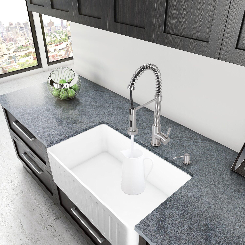Apron Kitchen Sinks: VIGO 36 Inch Farmhouse Apron Single Bowl Matte Stone