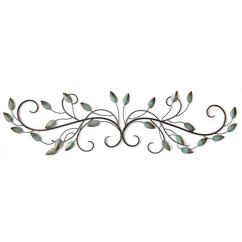Fleur De Lis Living Patina Teal Metal Leaf Scroll Wall ...