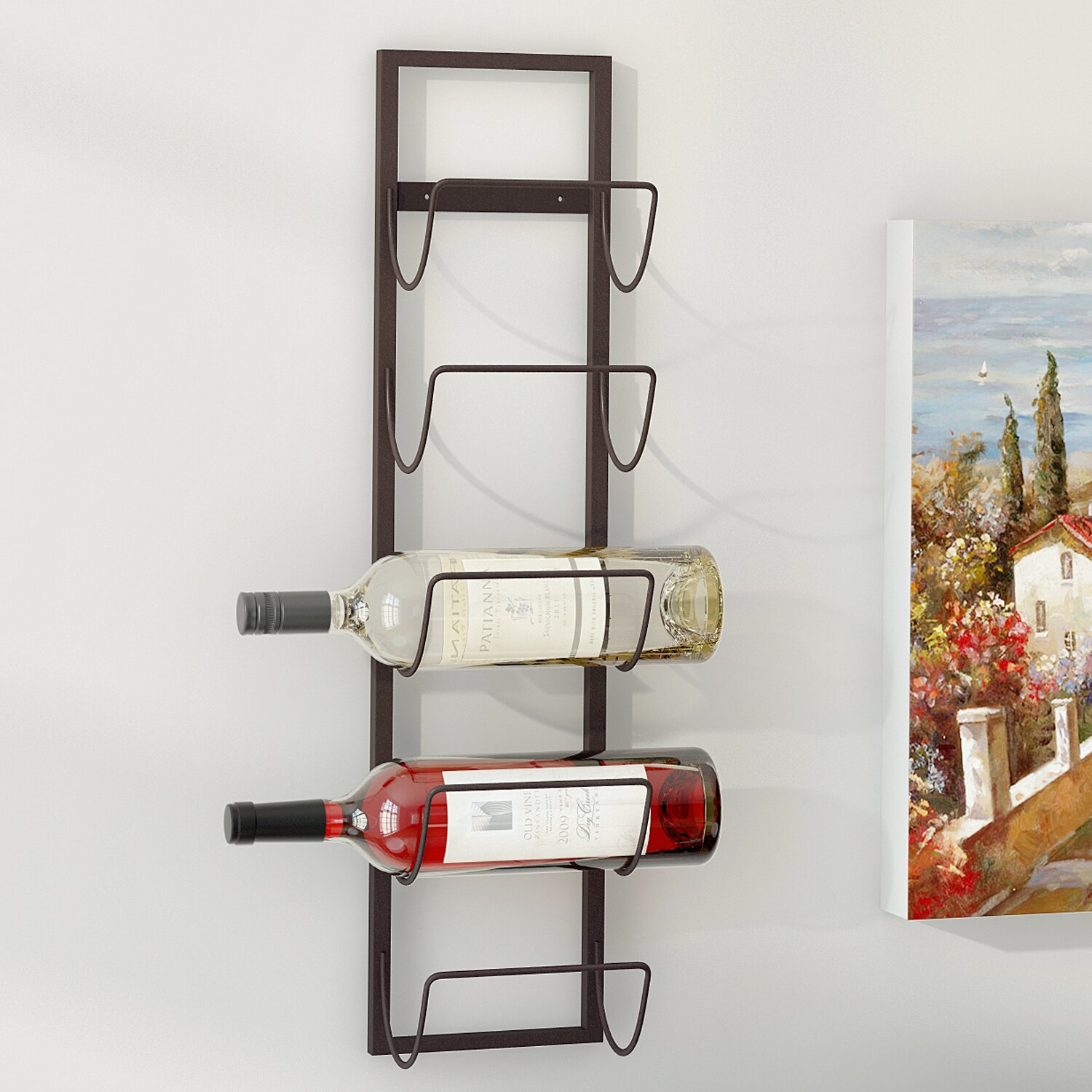 charlton home leveson 5 bottle wall mounted wine rack reviews wayfair. Black Bedroom Furniture Sets. Home Design Ideas