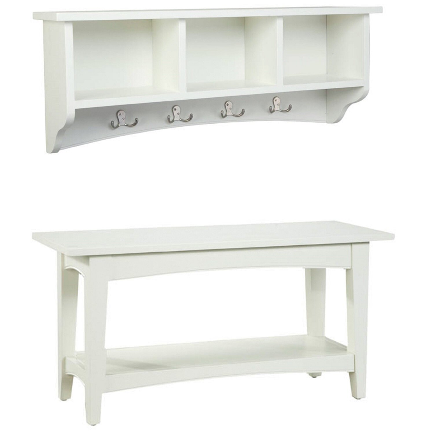 bel air 2 piece entryway wall shelf and bench set reviews birch lane. Black Bedroom Furniture Sets. Home Design Ideas