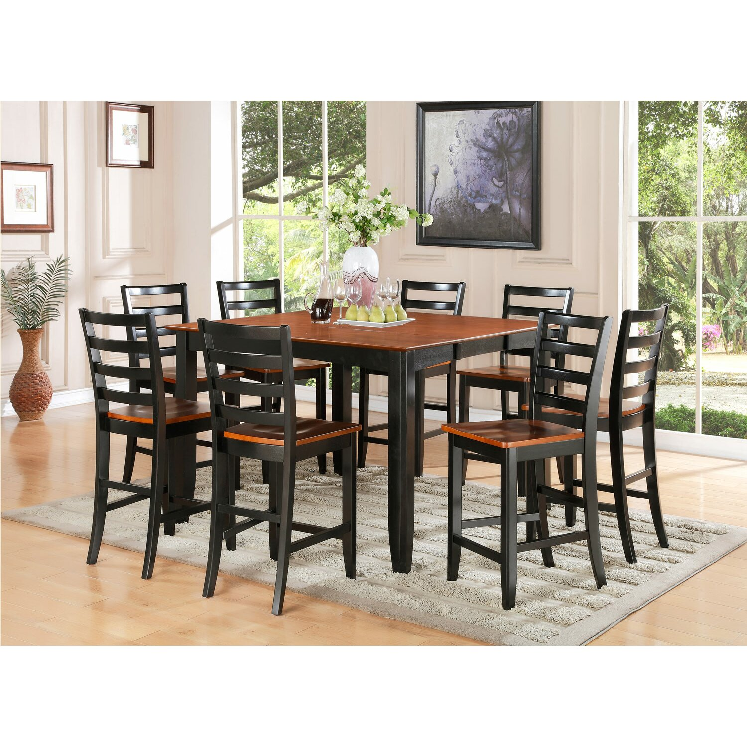 Wooden Importers Parfait 9 Piece Counter Height Dining Set ...