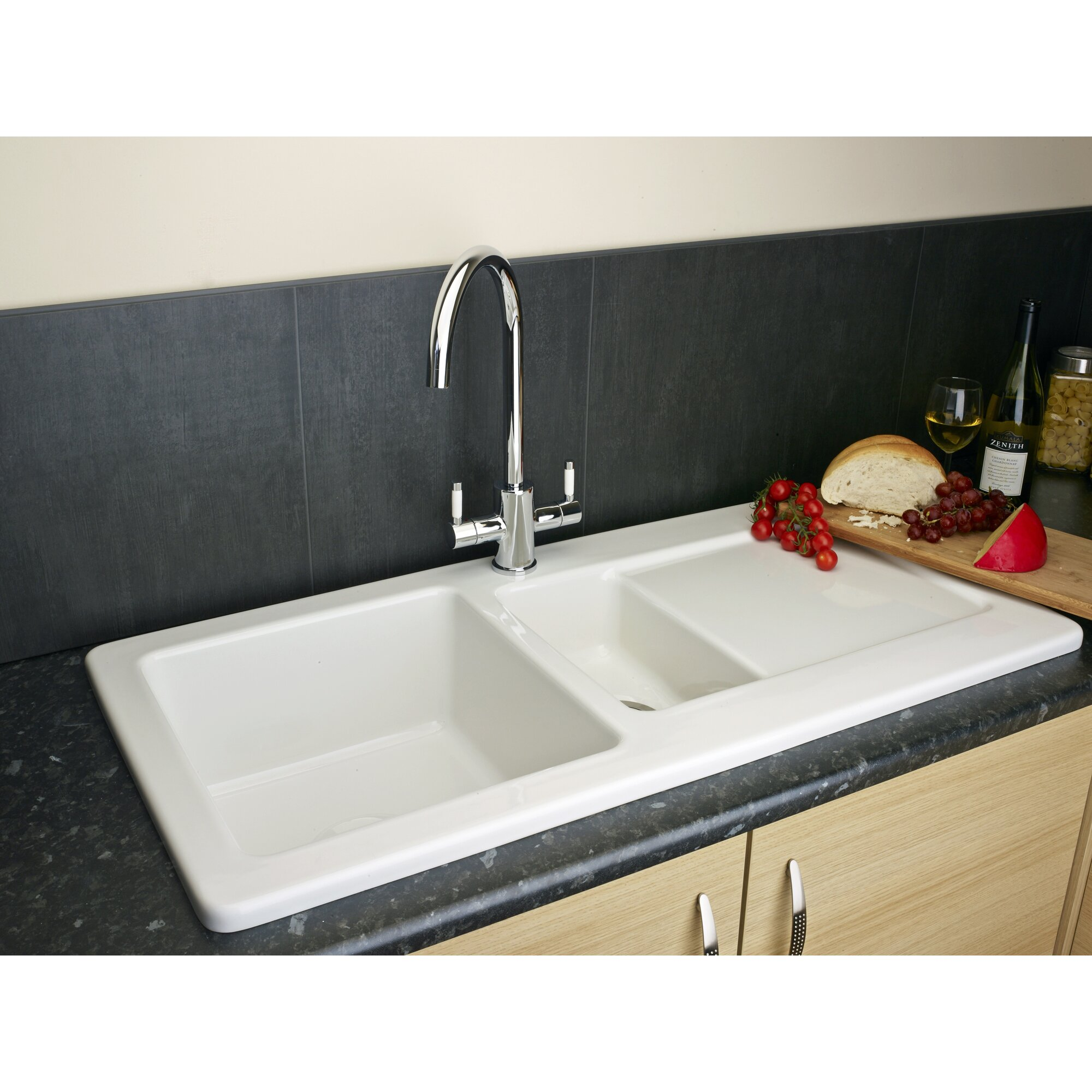116 cm stainless steel double bowl single drainer inset sink right - 100cm X 50cm Inset Kitchen Sink With Waste Outlet