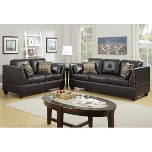 leather living room sets you'll love | wayfair