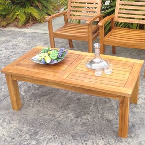 round outdoor teak coffee table | wayfair