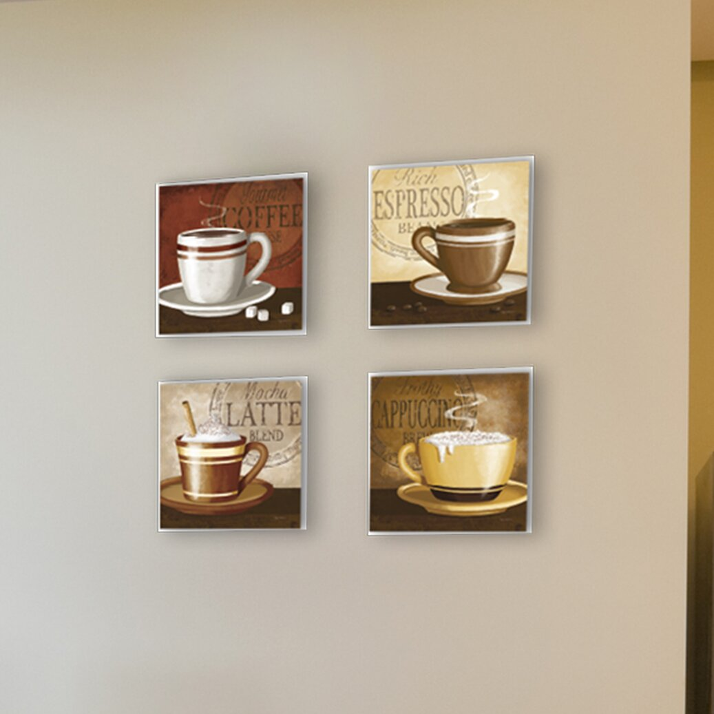 4 Piece Espresso Coffee Latte Cappuccino Wall Decor Set
