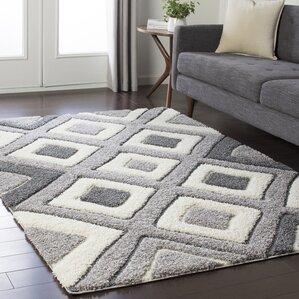 Marketfield Soft Geometric Shag White/Gray Area Rug