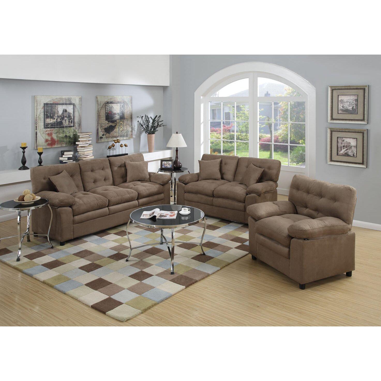 red barrel studio kingsport 3 piece living room set reviews. Black Bedroom Furniture Sets. Home Design Ideas