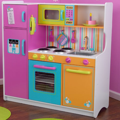 kidkraft deluxe big bright kitchen play set reviews wayfair. Black Bedroom Furniture Sets. Home Design Ideas