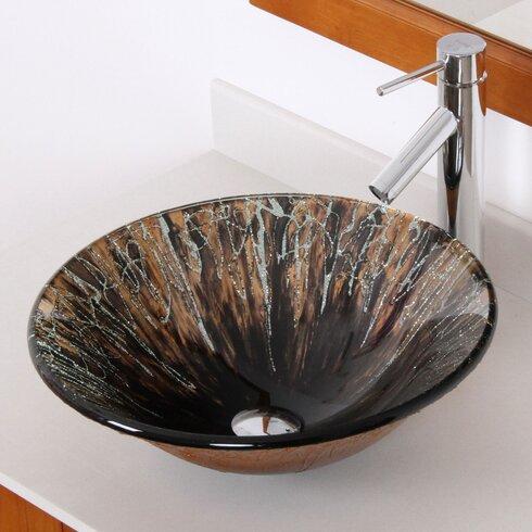 Handcrafted Glass Fanfare Bowl Circular Vessel Bathroom Sink