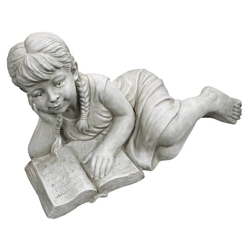 Statue Girl Laying Reading Book