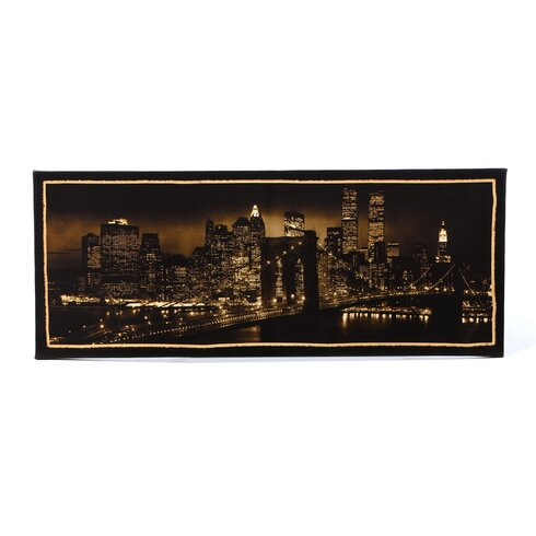 New York Skyline Framed Photographic Print on Wrapped Canvas