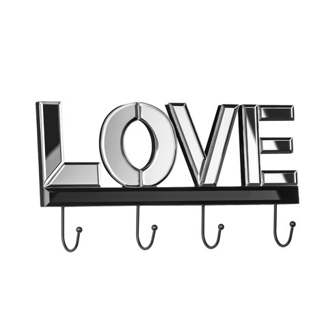 Love Mirrored Wall Mounted Coat Rack