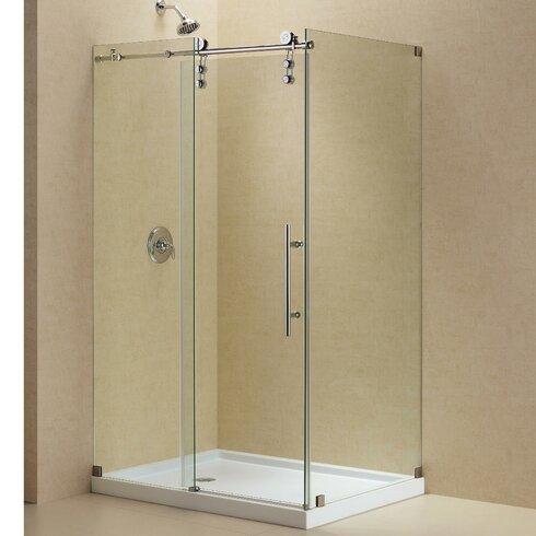 enigma z 48 38 w x 34 5 d fully frameless sliding shower enclosure dreamline