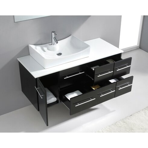Ultra Modern 53 Single Bathroom Vanity Set With White