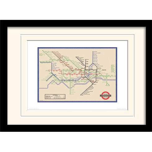 "London Transport ""7"" Mounted Framed Graphic Art"