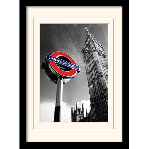 London Underground Sign and Big Ben Mounted Framed Graphic Art