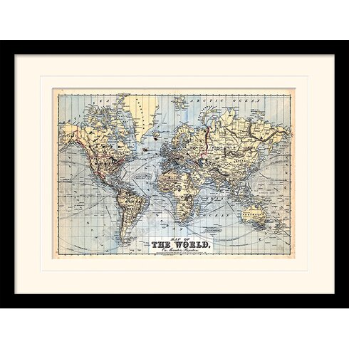 The World on Mercator's Projection 1874 Framed Graphic Art
