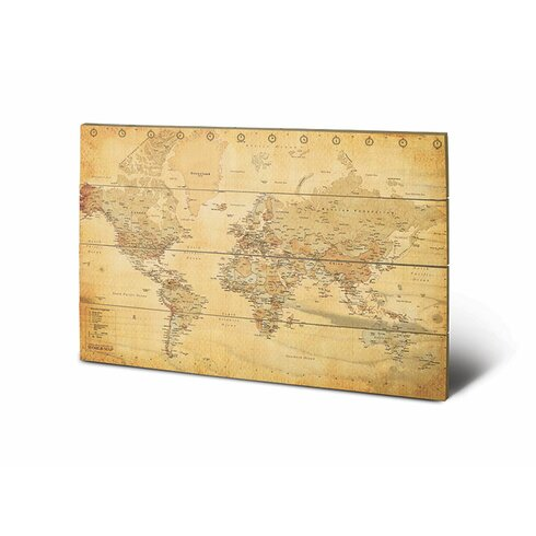 World Map Graphic Art Plaque