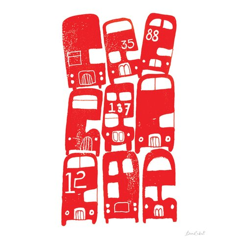 Stacking Buses by BiroRobot Canvas Wall Art