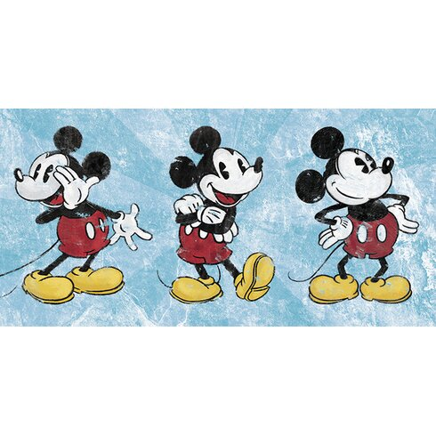 Mickey Mouse, Squeaky Chic Triptych Vintage Advertisement Canvas Wall Art