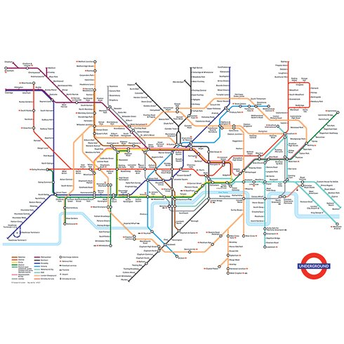 Transport for London - Underground Map Graphic Art on Canvas